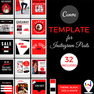 Canva Template for Instagram Posts in Black, White & Red