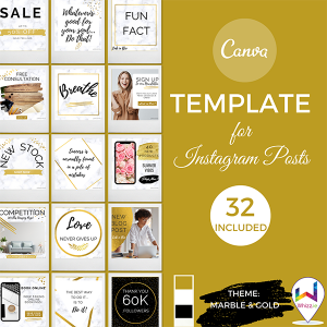 Canva Template for Instagram Posts in Marble & Gold